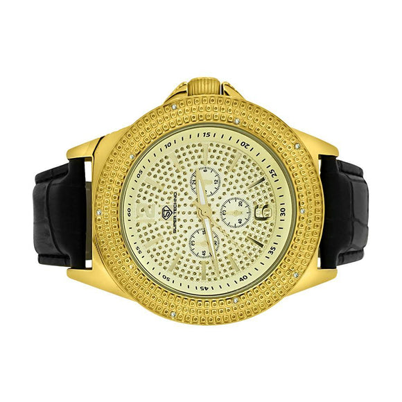 Pave Super Techno Genuine Diamond Hip Hop Watch Gold - Presidential Brand (R)