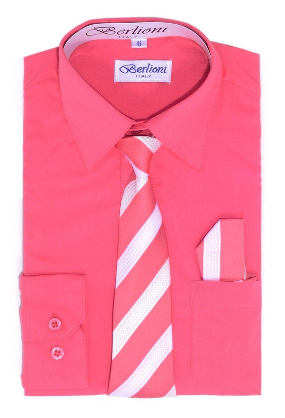 Boy's Dress Shirt/Necktie/Hanky N731-Coral - Presidential Brand (R)