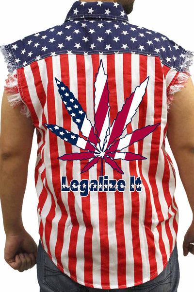 Men's USA Flag Sleeveless Denim Shirt Legalize It Biker