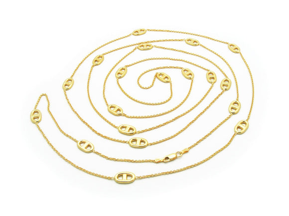 Long Golden Marine Link Necklace, 58