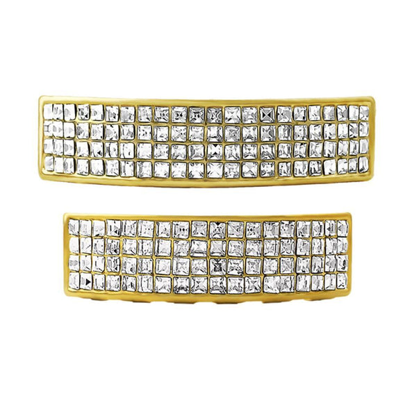 Gold 4 Row Princess Cut Grillz Top  Bottom Set