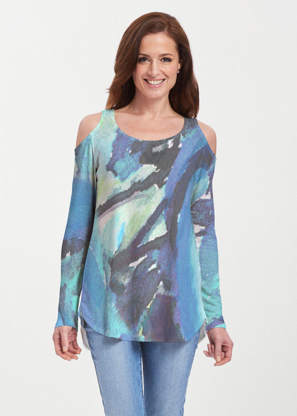 Abstract Blue (15035) ~ Cold Shoulder Tunic - Presidential Brand (R)
