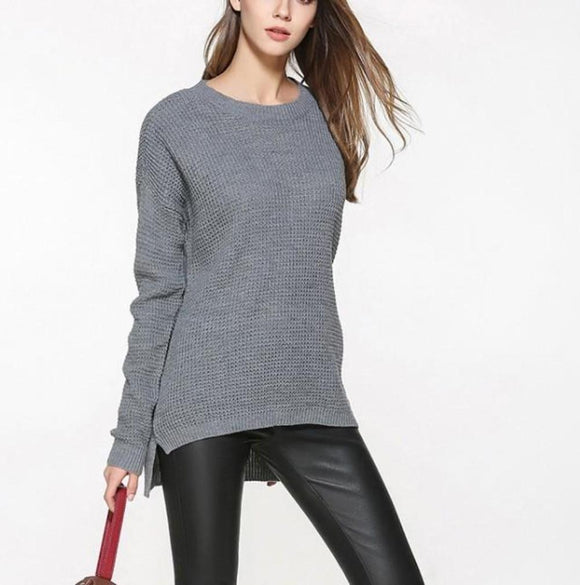 Womens Relaxed Fit Round Neck Sweater in Gray - Presidential Brand (R)
