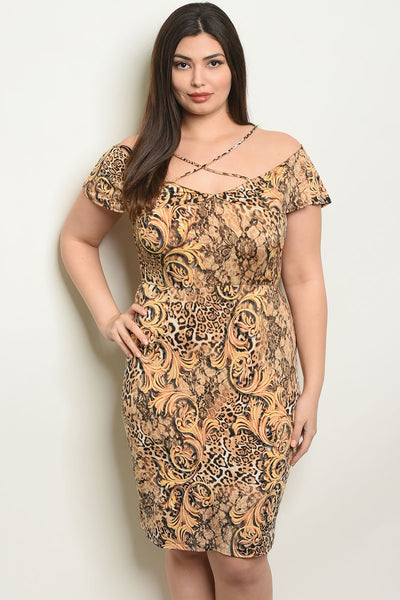 Women's Plus Size Camel Black Short Sleeve Scoop Neck Criss Cross Front Printed Dress(6 pcs/ Bundle)
