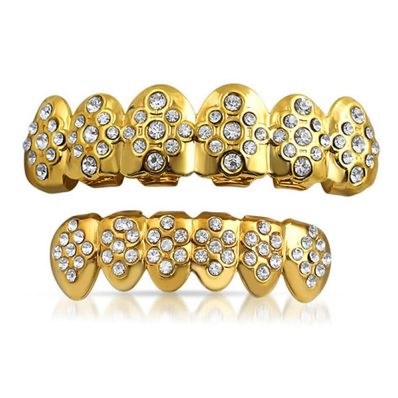 Gold Grillz Bling Pattern Teeth Set - Presidential Brand (R)