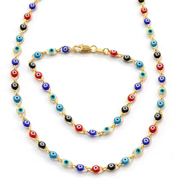 (meveye-02-j5) 18kt Brazilian Gold Filled Multicolored Evil Eye Links.