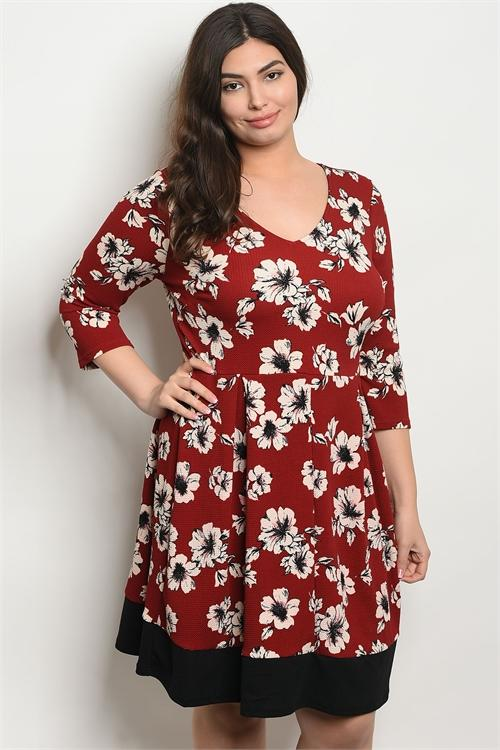 Women's Plus Size Burgundy Floral 3/4 Sleeve V-Neck Printed Tunic Dress(6 pcs/ Bundle) - Presidential Brand (R)