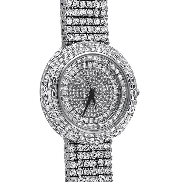 Baguette Iced Out Orbit 6 Row Watch