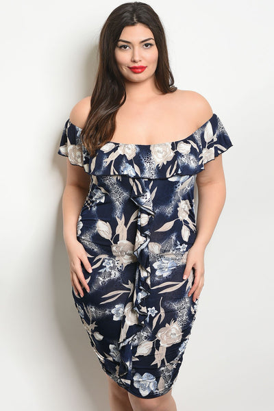 Women's Plus Size Navy Blue Short Sleeve Off Shoulder Printed Bodycon Detail(6 pcs/ Bundle)