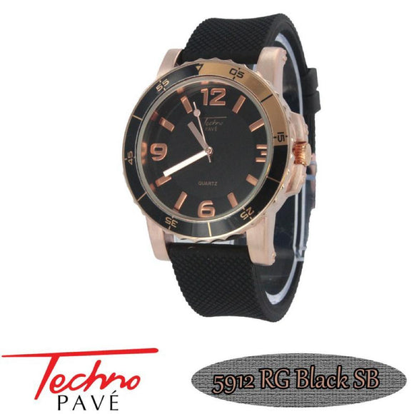 Techno Pave Sport Rose Black Rubber Watch - Presidential Brand (R)