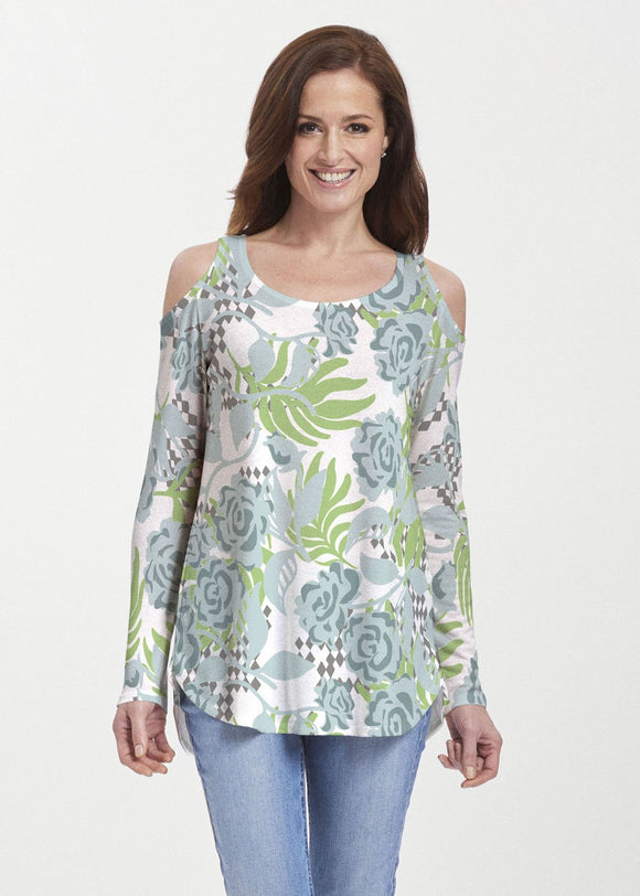 Abstract Rose Garden (7648) ~ Cold Shoulder Tunic - Presidential Brand (R)