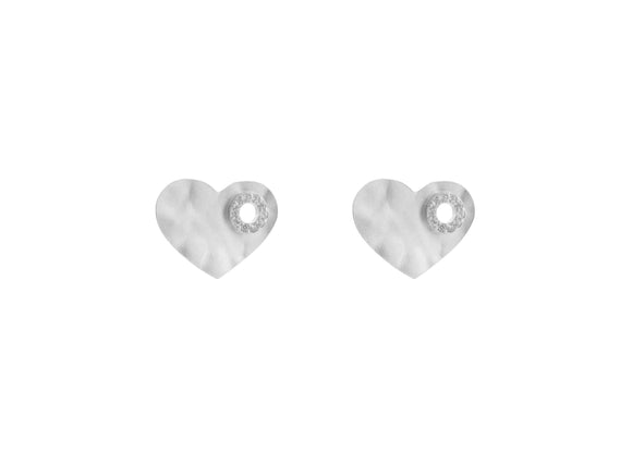 Sterling Silver Rhodium Plated Hammered Heart inside Circle Cz Earrings