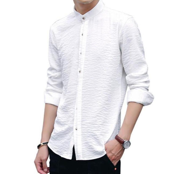 Mens Mandarin Collar Button Front Shirt - Presidential Brand (R)