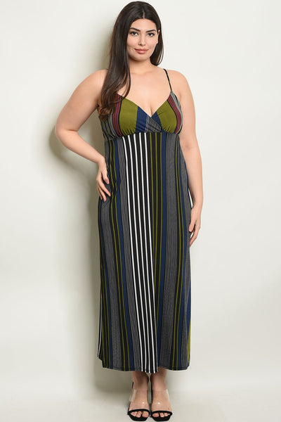 Women's Plus Size Black Olive Sleeveless V-Neck Striped Side Slit Maxi Dress(6 pcs/ Bundle)