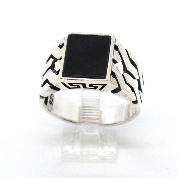 (2-5273-h9-1) Sterling Silver Men's Square Onyx Ring.