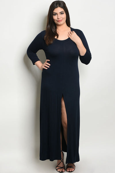 Women's Plus Size Navy 3/4 Sleeve Scoop Neck Front Slit Jersey Dress(6 pcs/ Bundle)