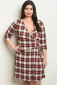 Women's Plus Size Cream Red Checkered 3/4 Sleeve V-Neck Wrap Dress(6 pcs/ Bundle) - Presidential Brand (R)