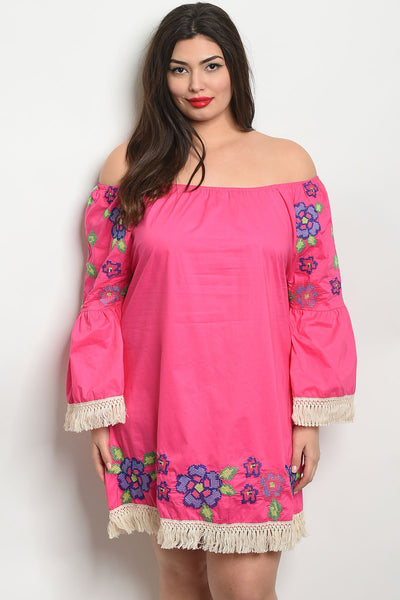 Women's Plus Size Fuchsia Long Sleeve Off The Shoulder Embroidery Tunic Dress(6 pcs/ Bundle)