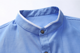 Mens Light Blue Stand Collar Shirt with Pocket Details