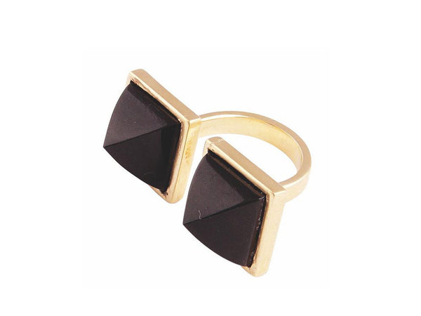 Tiger's Eye Quartz Double Pyramid Ring