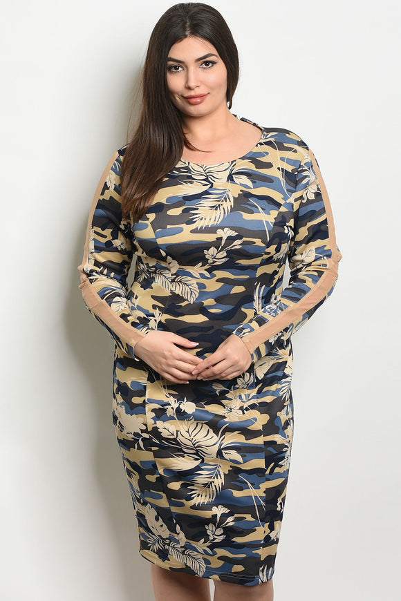 Women's Plus Size Navy Camouflage Long Sleeve Scoop Neck Camo And Floral Dress(6 pcs/ Bundle)