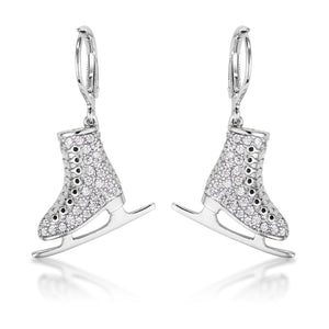 Delicate .85Ct Silvertone Ice Skate Earrings