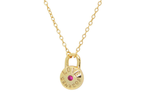 Red Cz Love Forever Lock Pendant Necklace in Gold Plated SIlver 16
