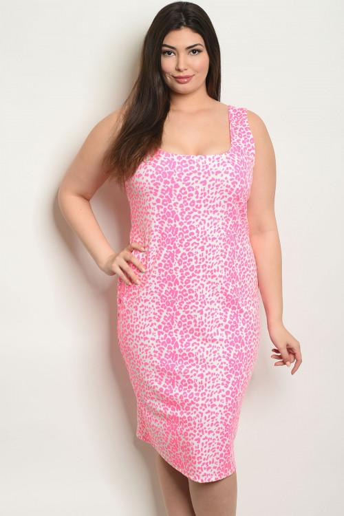 Women's Plus size Neon Pink Animal Print Sleeveless Scoop Neck Bodycon Dress(6 pcs/ Bundle)