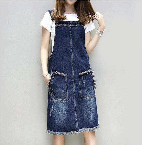 Womens Denim Pinafore Dress with Pockets - Presidential Brand (R)