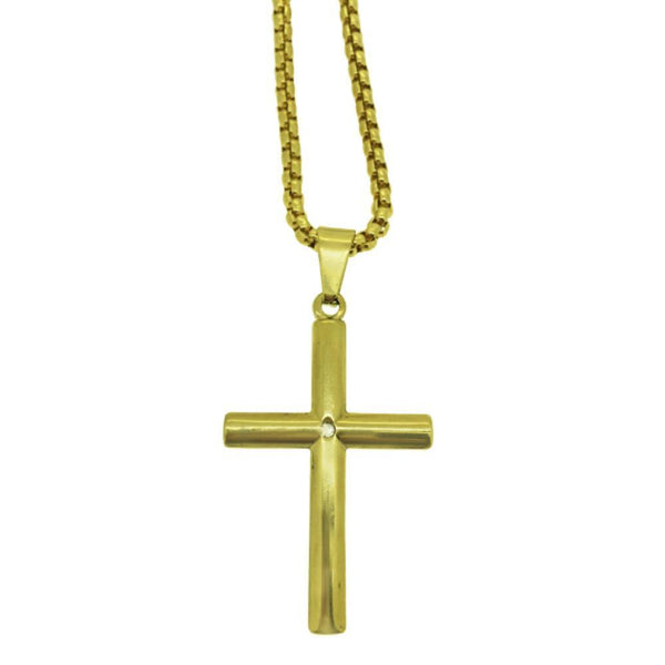 Tube Cross with Stone Gold Stainless Steel Chain Set