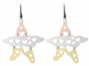"Sterling Silver Tri Color  Gold Plated 2"" Star Earrings Movable with Cutout Hearts"