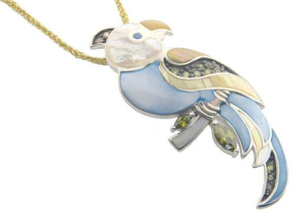 Vintage Mother of Pearl & Zirconia Parrot Pendant   925 Sterling Silver by  . - Presidential Brand (R)