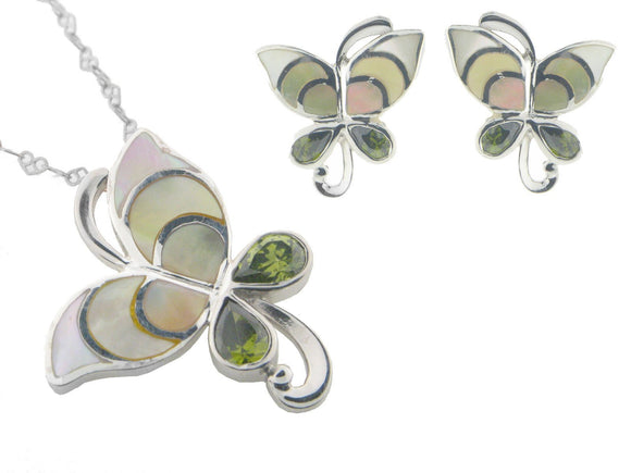 Vintage Butterfly Mother of Pearl Earring and Pendant Set   925 Sterling Silver Cubic Zirconias - Presidential Brand (R)