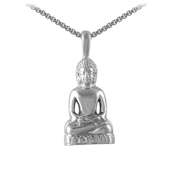 Calm Sitting Buddha Pendant Stainless Steel - Presidential Brand (R)