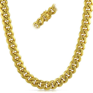 Miami Cuban Gold Stainless Steel Chain 8MM - Presidential Brand (R)