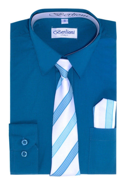 Boy's Dress Shirt/Necktie/Hanky N727-Teal