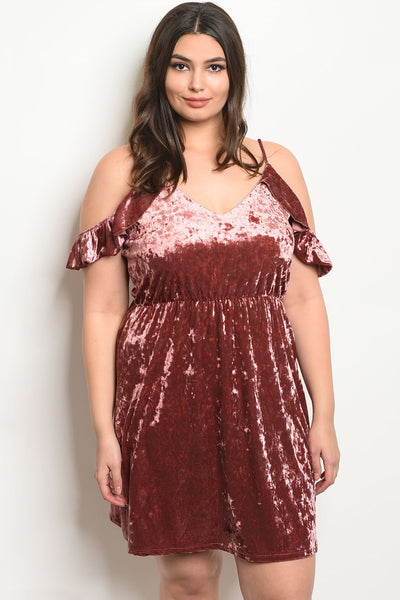 Women's Plus Size Mauve Short Sleeve Velvet Cold Shoulder Dress(6 pcs/ Bundle)