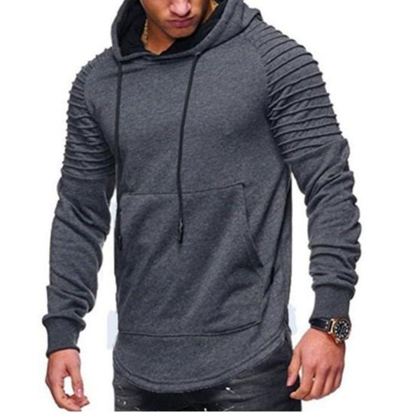 Mens Slim Fit Biker Hoodie in Dark Gray