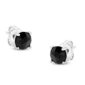 Sterling Silver 2 5/8 ct TDW Rose-Cut Treated Black Round Diamond Stud Earrings (Black, I2-I3)