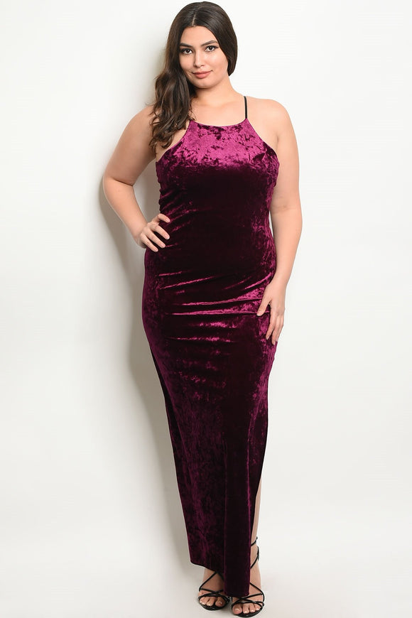 Women's Plus Size Plum Sleeveless Scoop Neck Velvet Maxi Dress With Side Slit(6 pcs/ Bundle)
