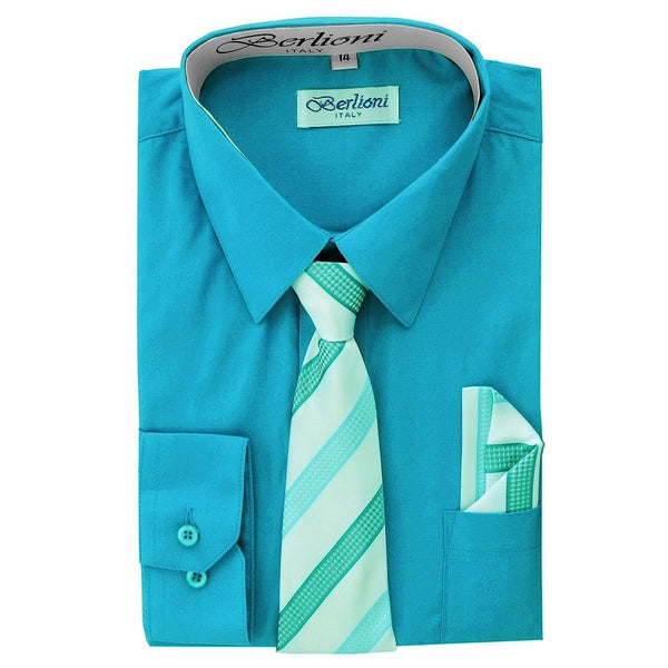 Boy's Dress Shirt/Necktie/Hanky N707-Turquoise