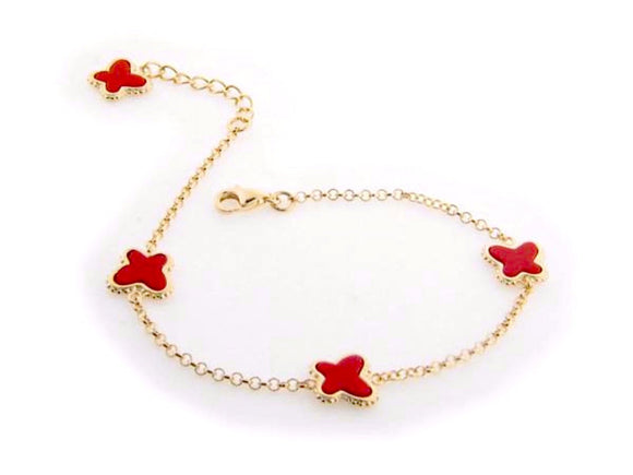 Red Coral Butterfly Charms Bracelet in Gold Plating, 7