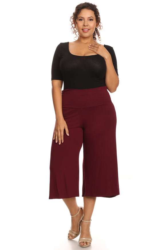 Plus Size Women's Gaucho Pants Knit Capri Culottes Lose Fit 1XL, 2XL, 3XL - Presidential Brand (R)