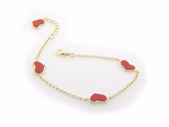 Coral Heart Charms Bracelet in Gold Plating, 7