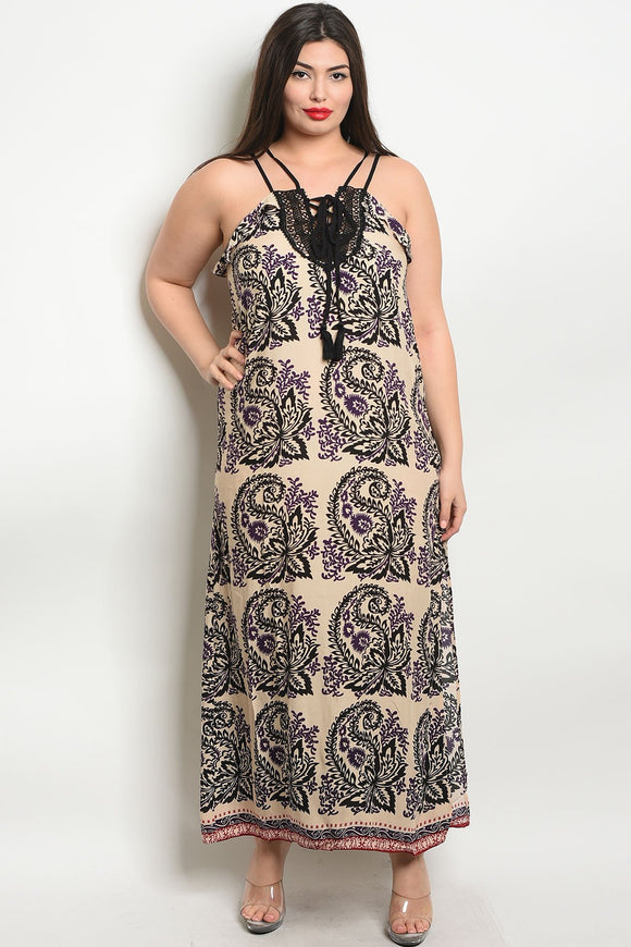 Women's Plus Size Sleeveless Scoop Neck Printed Maxi Dress(6 pcs/ Bundle) - Presidential Brand (R)
