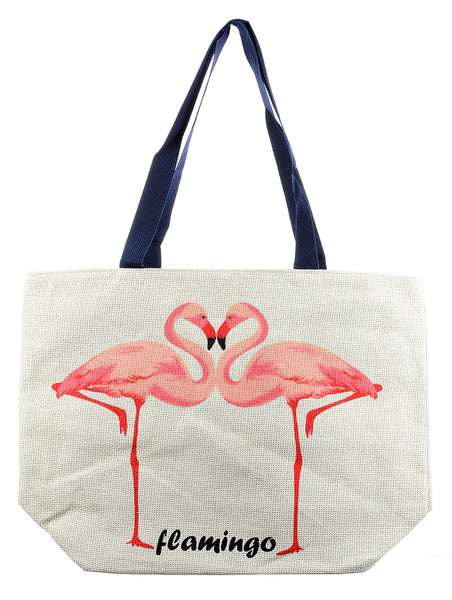 FLAMINGO PRINT STRAW BEACH TOTE