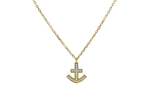 Sparkling Cz Anchor Necklace in Vermeil, 15