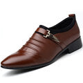 Men Solid Color Folds Comfy Microfiber Leather Non Slip Formal Shoes - Presidential Brand (R)