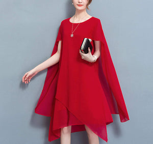 Womens Cape Style Chiffon Dress - Presidential Brand (R)