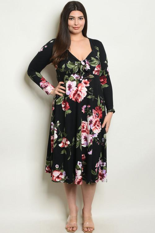 Women's Plus Size Black Floral Long Sleeve V-Neck Floral Print Midi Dress(6 pcs/ Bundle)